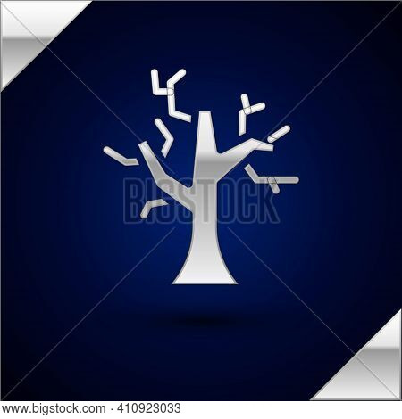 Silver Withered Tree Icon Isolated On Dark Blue Background. Bare Tree. Dead Tree Silhouette. Vector