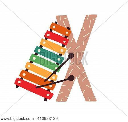 Capital Letter X Of Childish English Alphabet With Xylophone. Kids Font For Kindergarten And Prescho