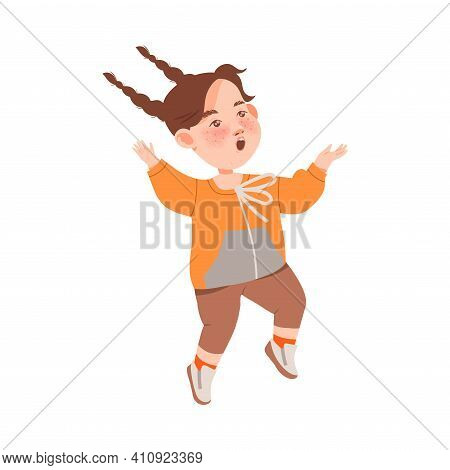 Cute Freckled Girl With Braids Jumping With Joy And Excitement Vector Illustration