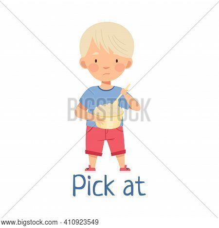 Little Blond Boy Picking At Saucepan With Porridge Showing Dislike Vector Illustration