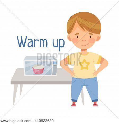 Little Boy At Kitchen Warming Up Porridge In Microwave Oven Vector Illustration
