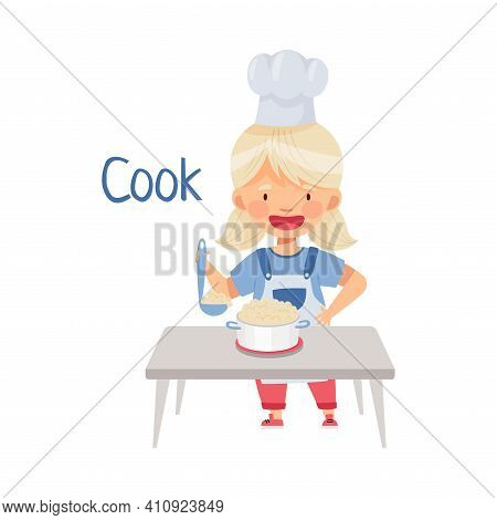 Little Blond Girl In Apron Standing At Kitchen Table And Cooking Porridge In Saucepan Vector Illustr