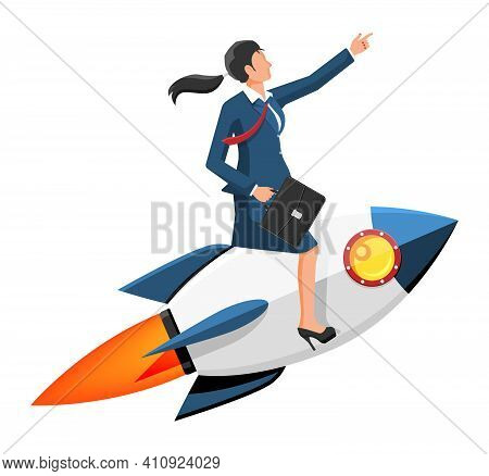 Successful Businesswoman Flying On Rocket. Launch Of Space Ship With Business Woman. New Idea Or Sta