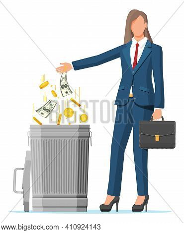 Businesswoman Putting Golden Coins And Dollar Bills In Trash. Garbage Waste Investment. Losing Or Wa