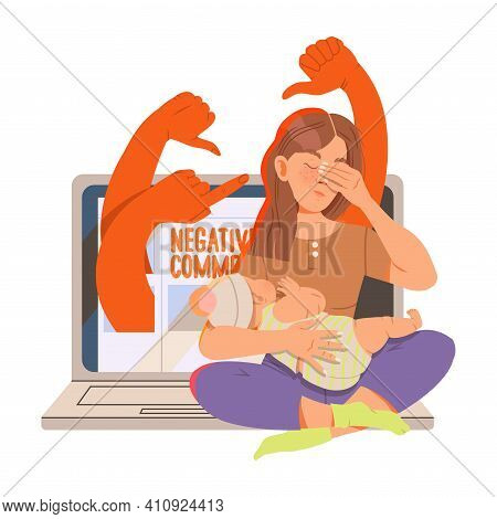 Young Female With Newborn Baby As Victim Of Cyberbullying Suffering From Violence And Hatred From So