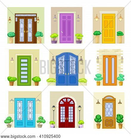Front Door Facade With Decorative Bushes In Cachepot And Light Vector Set