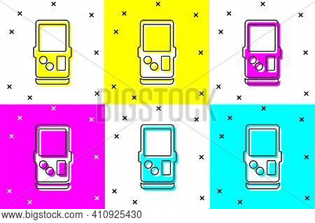 Set Portable Tetris Electronic Game Icon Isolated On Color Background. Vintage Style Pocket Brick Ga