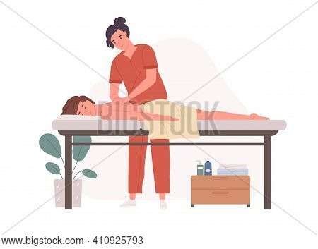 Therapist Massaging Patients Back. Person Lying On Couch And Enjoying Body Spa Treatment. Wellness P