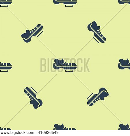 Blue Triathlon Cycling Shoes Icon Isolated Seamless Pattern On Yellow Background. Sport Shoes, Bicyc