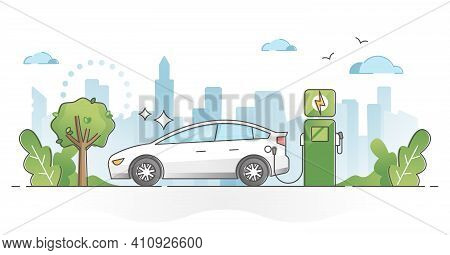 Electric Car Usage And Green Electricity Energy Consumption Outline Concept