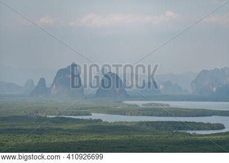 Samed Nang Chee. View Of The Phang Nga Bay, Mangrove Tree Forest And Hills At Andaman Sea, Thailand.