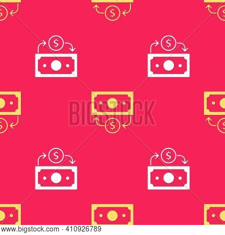 Yellow Stacks Paper Money Cash Icon Isolated Seamless Pattern On Red Background. Money Banknotes Sta