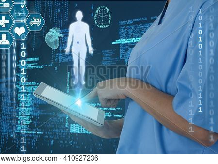 Scientific data processing with human body and icons over female doctor using digital tablet. global medicine science and technology concept digitally generated image.