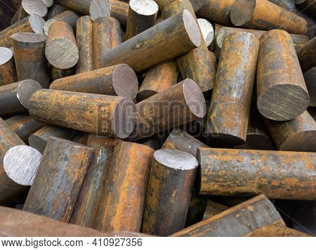 A Pile Of Raw Steel Short Rods Cutted By Saw- Workpieces Prepaired For Forging, Close-up With Select