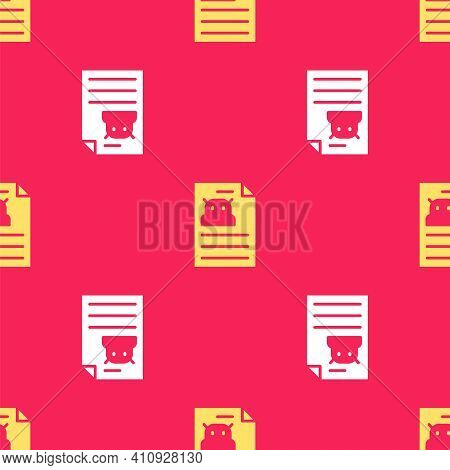 Yellow Technical Specification Icon Isolated Seamless Pattern On Red Background. Technical Support C