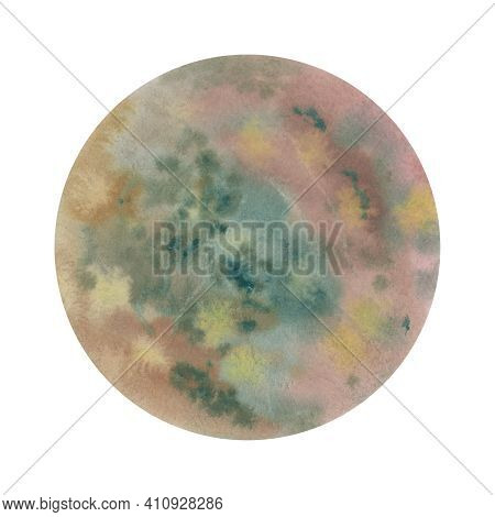Mars Watercolor Drawing. Planet Mars Illustration. Abstract Planet. Watercolor Background In A Circl