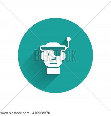 White Smart Glasses Mounted On Spectacles Icon Isolated With Long Shadow. Wearable Electronics Smart