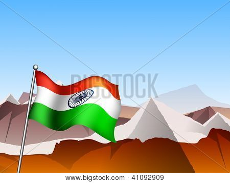 Indian Flag waving on mountains. EPS 10.