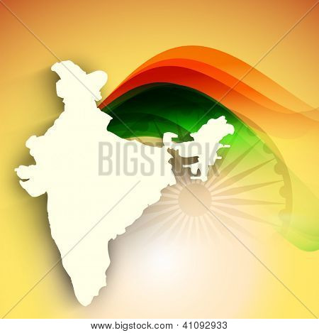 India map on national flag color creative wave background. EPS 10.