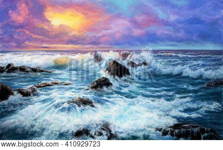 Original  Oil Painting Of Beautiful Purple Sunset Over Ocean Beach With Cliffs  On Canvas.modern Imp
