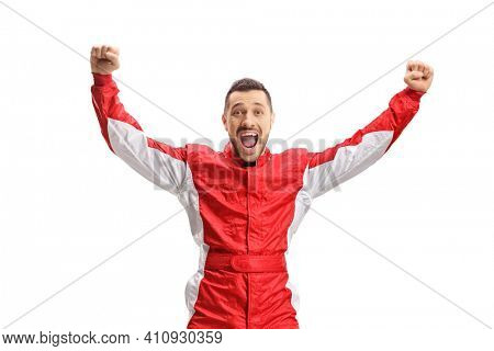 Car racer jumping and gesturing happiness isolated on white background