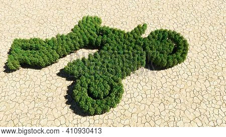 Concept or conceptual group of green forest tree on dry ground background, sign of a stuntman on a motorcycle. A 3d illustration metaphor for sport, adrenaline, extreme competition, danger, fun