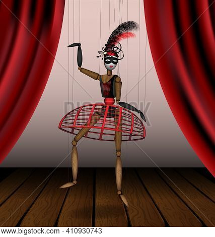 Vector Illustration Theatre Stage And Wooden Puppet In Black Red