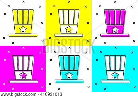 Set Patriotic American Top Hat Icon Isolated On Color Background. Uncle Sam Hat. American Hat Indepe