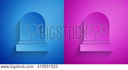 Paper Cut Flasher Siren Icon Isolated On Blue And Purple Background. Emergency Flashing Siren. Paper