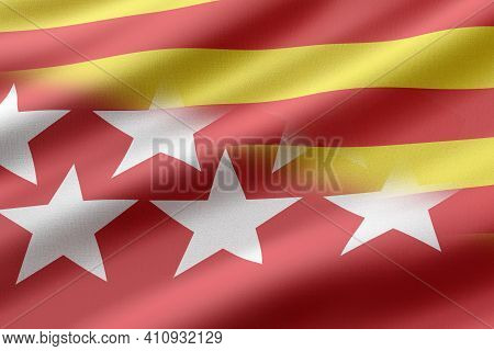 3d Rendering Of Madrid And Catalonia Flags. Concept Of The Political Crisis For The Catalonia Indepe