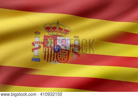 3d Rendering Of A Mixed Of A Spain And Catalonia Flag. Concept Of Diplomatic Conflict For The Catalo