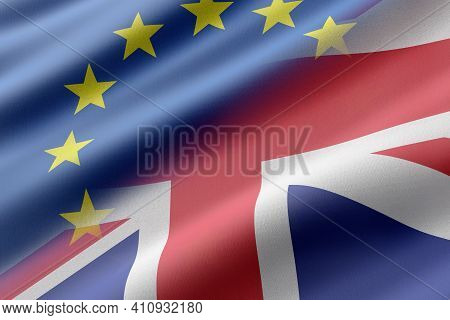 3d Rendering Of A Eec And United Kingdom Flags. Concept Of Brexit And Separation Between Europe And