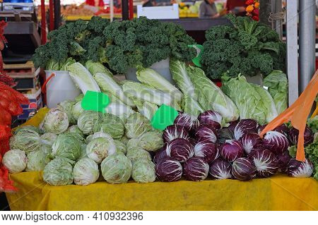 Cabbages And Leafy Greens At Farmers Market