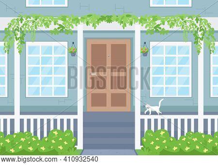 Home Exterior Flat Color Vector Illustration. Suburban Residence. Spring, Summer Season. Cat On Porc