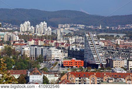 Residential Buildings And Skyscrapers Ljubljana Slovenia Cityscap