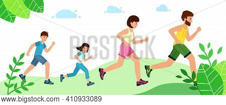 Happy Family With Children Running Or Jogging For Sport. Fitness In Summer In Park.