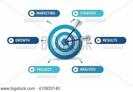 Infographics Diagram Goals Business. Concept Of Hitting Exactly Target.