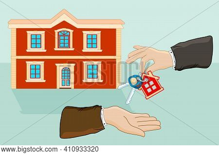 Hands Giving Keys With Small House Key Ring Given From One Hand To Another. Real Estate, Sale And Re