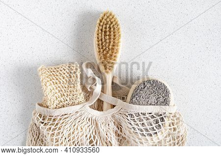 Natural Bathroom Accessories, Washcloth, Wooden Anti-cellulite Body Brush, Dry Massage, Loofah, Body