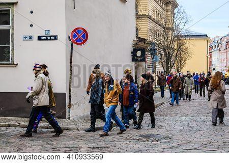 Riga, Latvia: February 28, 2021: Making Of Latvian Directors Viesturs Kairiss Movie January, Which T