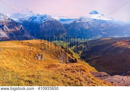 Grindelwald, Switzerland Aerial Sunset Swiss Alps Mountains Panorama Landscape, Wooden Chalet On Gre