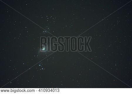 The Orion Constellation Nebula In The Night Winter Sky. Astrophotography. Deep Space Photo.