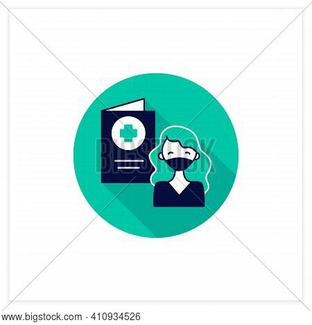 Covid Passport Flat Icon. Girl In Mask Has Got Necessary Document. Note About Health Status. Vaccina