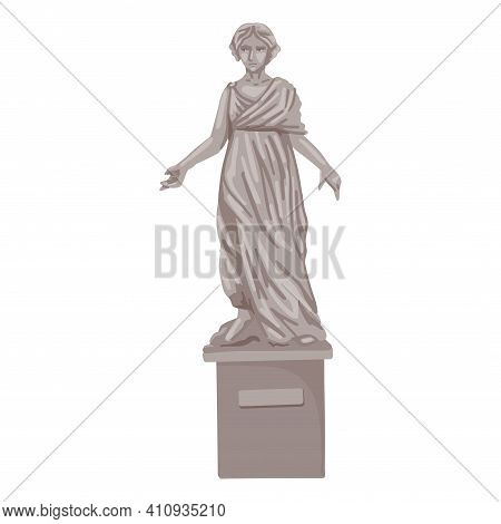 Woman Statue, Landmark, Museum Piece, Antique Sculpture, Greek Monument, Girl In Draped Fabric. Ston