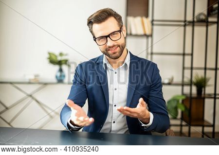 Noble Handsome Businessman Talking About Startup, Company Entrepreneur Sitting, Smiling With Confide
