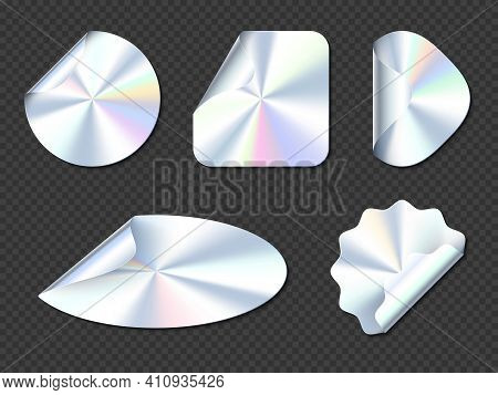Holographic Stickers, Hologram Labels With Curl Edges. Round, Square, Oval, Rhombus And Wavy Iridesc