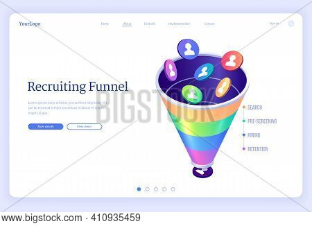 Recruiting Funnel Banner. Concept Of Organization Hiring Process, Search And Selection Staff And Emp
