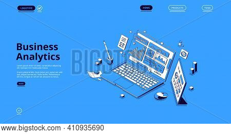 Business Analytics Isometric Landing Page. Financial Marketing, Online Trading And Investment, Autom
