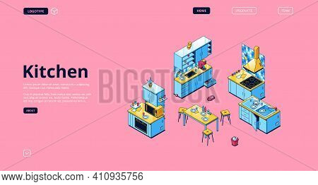 Kitchen Banner. Modern Furniture And Cooking Appliances For House Kitchen. Vector Landing Page With