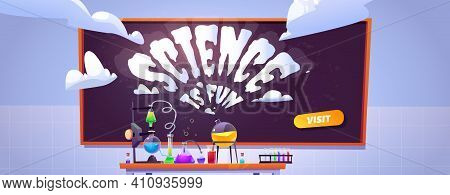 Science Lab Banner For Study And Chemistry Experiments For Kids. Vector Landing Page Of Education Pr